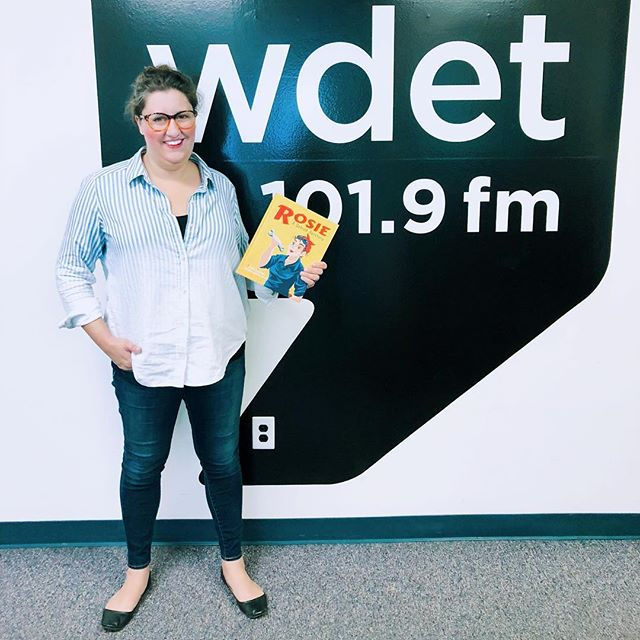 Rosie on the Radio! Show those #muscles And that teamwork Rosies! . . rosietheriveter #Rosie #WorldWarII #Costume #TributeRosie #RosieAdetroitherstory #detroitherstory #detroit #book #youngadultbooks #childrensbook #nonfiction #wsupress @wsupress #bookcharacter #womenwarworkers #detroitwoman #reading #author #illistrator #outfit #historicaloutfit #rosietheriveter #writer #instabook #yaauthor  #book #tributerosies #michigan #history #femaleheroes #radio