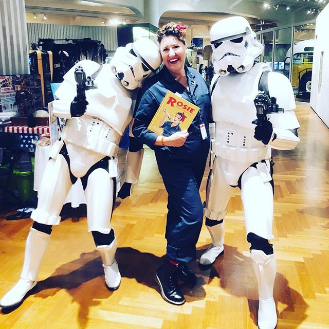 """""""These are not the #Books you're looking for..."""" sometimes weird parings just work and this week Rosie met #stormtrooper and fell in love at @makerfaire ! . . . #womenwithtools #womenwork #womenworking #rosietheriveter #Rosie #TributeRosie #RosieAdetroitherstory #detroitherstory #detroit #book #youngadultbooks #childrensbook #nonfiction #wsupress @wsupress #womenwarworkers #detroitwoman #reading #author #illistrator #historicaloutfit #yaauthor  #book #tributerosies #michigan #history  #femaleheroes #starwars"""