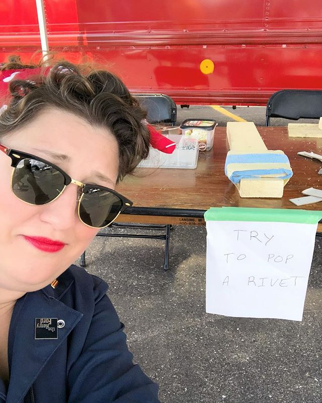 """The moment when you're dressed as Rosie the Riveter and you find a activity booth where a kid, very kindly asks, if you'd like to learn to Rivet without understanding that's kinda your thing. """"Why yes, I would love to."""" . . #womenwithtools #forklift #warehouse #heavyequipment #womenwork #womenworking #rosietheriveter #Rosie #TributeRosie #RosieAdetroitherstory #detroitherstory #detroit #book #youngadultbooks #childrensbook #nonfiction #wsupress @wsupress #womenwarworkers #detroitwoman #reading #author #illistrator #historicaloutfit #yaauthor  #book #tributerosies #michigan #history  #femaleheroes #publisher"""
