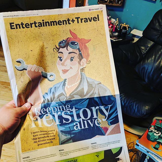 Thank you @detroitfreepress for the wonderful feature article on Rosie a Detroit Herstory! Swipe to see more. Link: https://www.freep.com/story/entertainment/2018/08/05/rosie-riveter-book-empowers-young-readers-detroit-authors/870752002/ . .  #rosietheriveter #Rosie #WorldWarII #Costume #TributeRosie #RosieAdetroitherstory #detroitherstory #detroit #book #youngadultbooks #childrensbook #nonfiction #wsupress @wsupress #bookcharacter #womenwarworkers #detroitwoman #reading #author #illistrator #outfit #historicaloutfit #rosietheriveter #writer #instabook #yaauthor  #book #tributerosies #michigan #history #femaleheroes #sheroes #newspaper