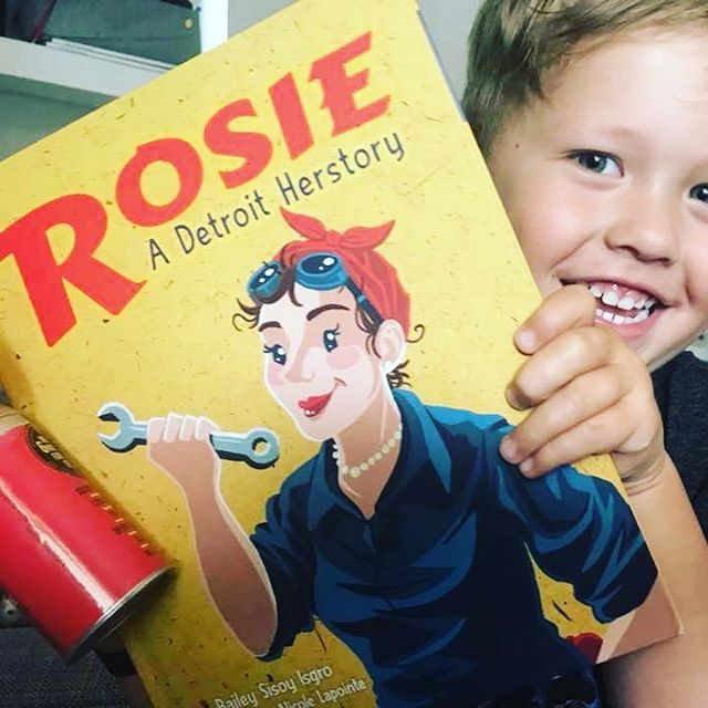 Jonas spent the night with his #grandma. They stayed very busy reading #feminist #literature, playing spin the kitty, encouraging a little #brother to walk, and putting out fires with a can of fart spray. Way to go to this awesome Grandma, who knows little boys need female role models too! . . #rosietheriveter #Rosie #WorldWarII #Costume #TributeRosie #RosieAdetroitherstory #detroitherstory #detroit #book #youngadultbooks #childrensbook #nonfiction #wsupress @wsupress #bookcharacter #womenwarworkers #detroitwoman #reading #outfit #historicaloutfit #rosietheriveter #writer #instabook #yaauthor  #book #tributerosies #michigan #bedtime #bedtimestory