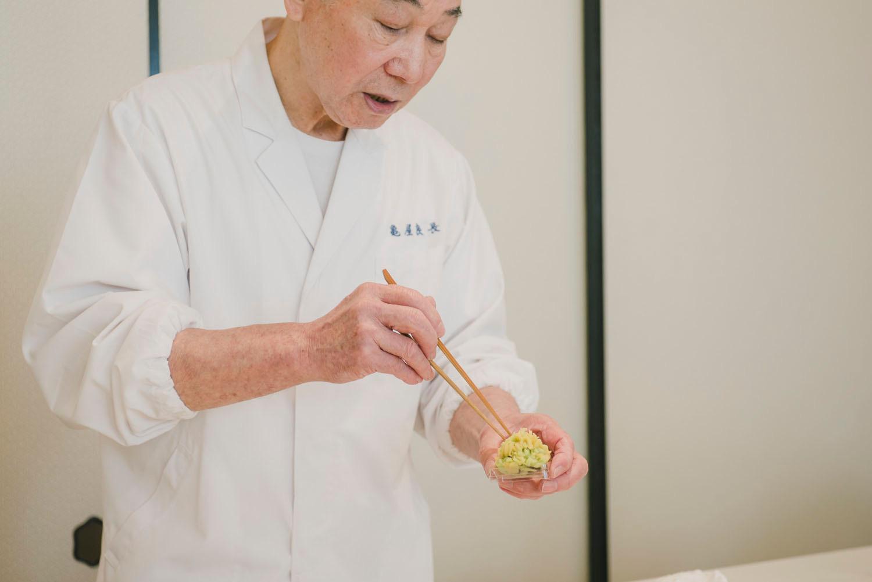 A  wagashi  master demonstrating  nerikiri .