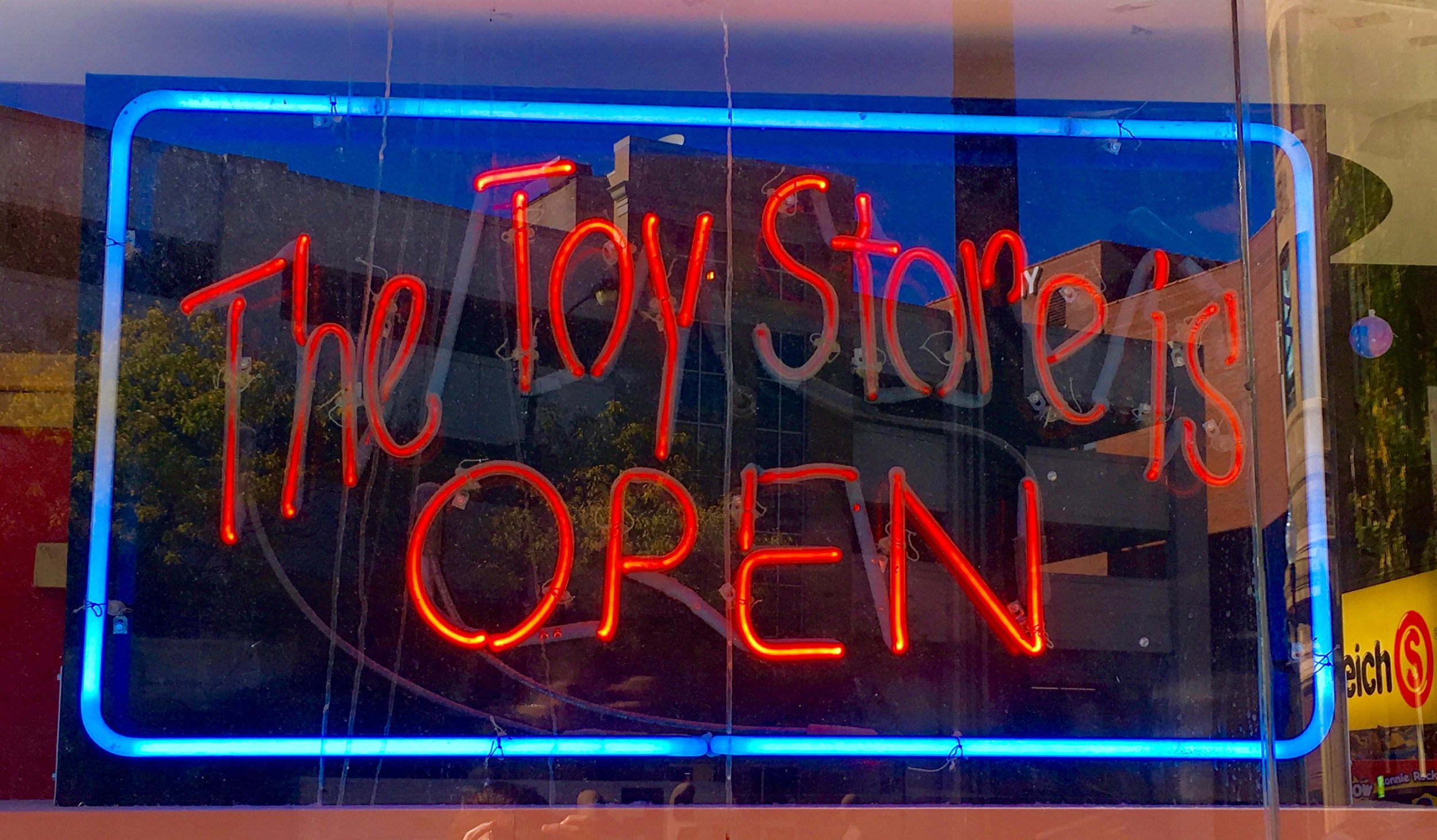 building blocks toy store sign