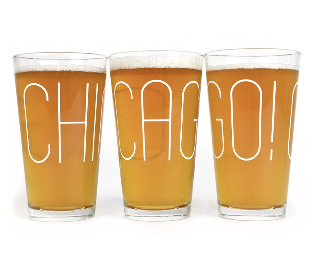 Chicago! Pint Glasses - Made in the US. Printed in the Midwest. Designed and sold by Neighborly.