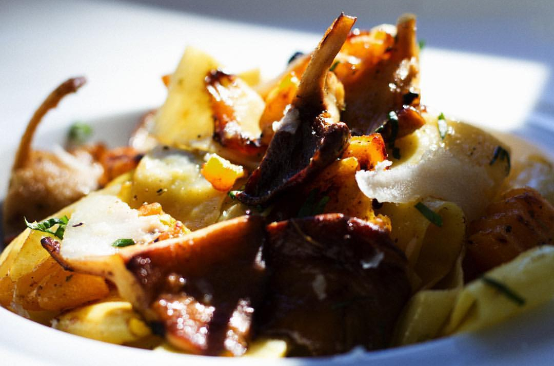 Bruce Banner Infused Pappardelle: butternut squash, caramelized onions, shiitake, sage brown butter, shaved pecorino