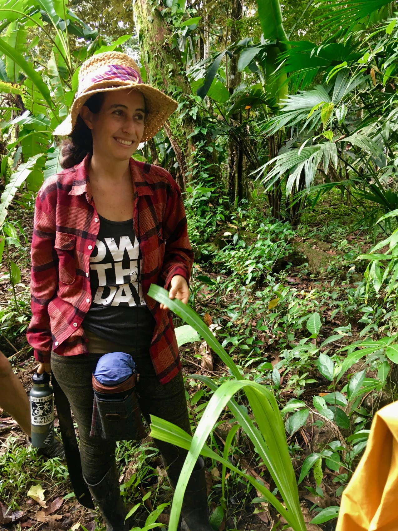 """Laura """"Lala"""" Palmieri in the field, Facilitator of Permaculture for the Herbalist's Path, an integrated Permaculture Design Certification and Herbal Studies course this September 23 - October 18 2019 with Atitlan Organics and the Bambu Guest House at Lake Atitlan, Guatemala."""