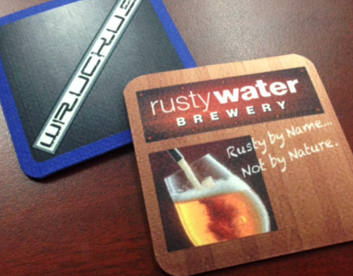 Small run Coasters    Exclusive to Standout Mats.  We manufacture felt topped, rubber backed coasters for smaller orders under 200 units.   Size:  100mm - Square with rounded corners only.   Minimum order of 10 units.