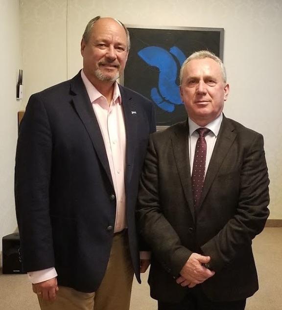 Pennine CEO N. Desmond Smith (L) and Velca Block advisory committee chairman Kastriot Bejtaj.