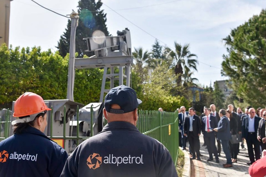 Government officials and Albpetrol employees commemorate the 100th anniversary of Albania's oil industry on April 11 at Drashovica.