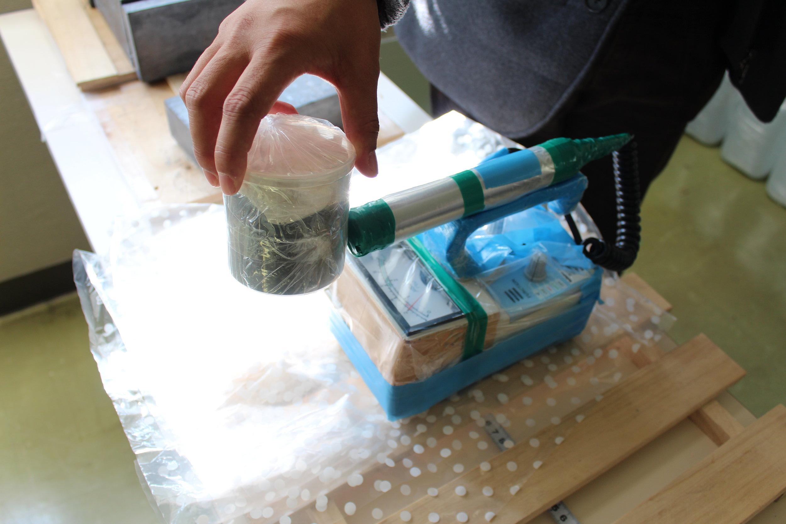 Testing for radition in Fukushima soil samples.JPG