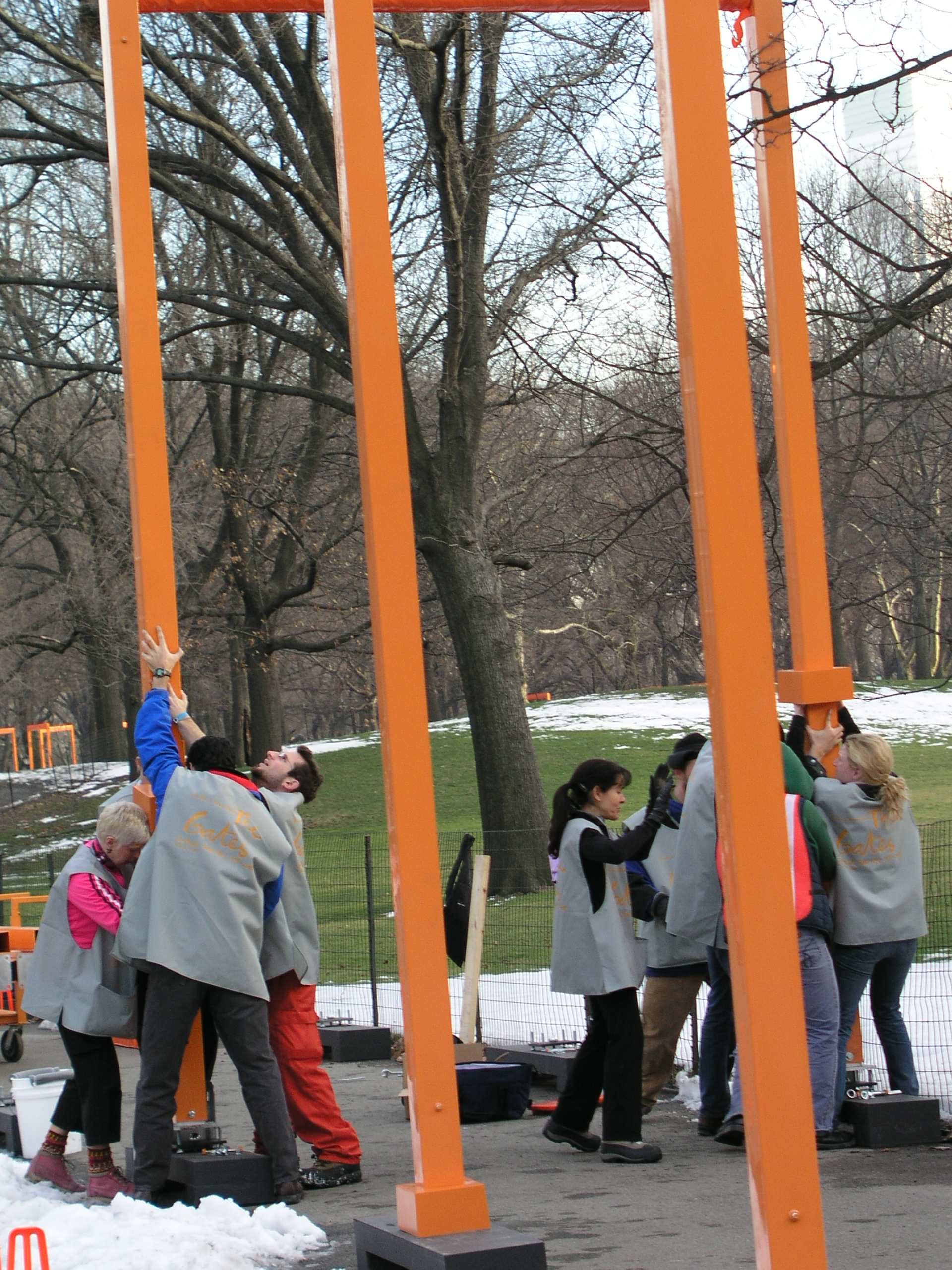 In 2005 100s of volunteers erected Christo Gates in Central Park.2.JPG
