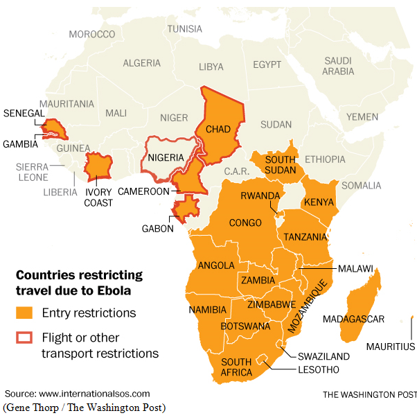 Countries closing borders out of Ebola fear as of Oct 2, 2014.PNG
