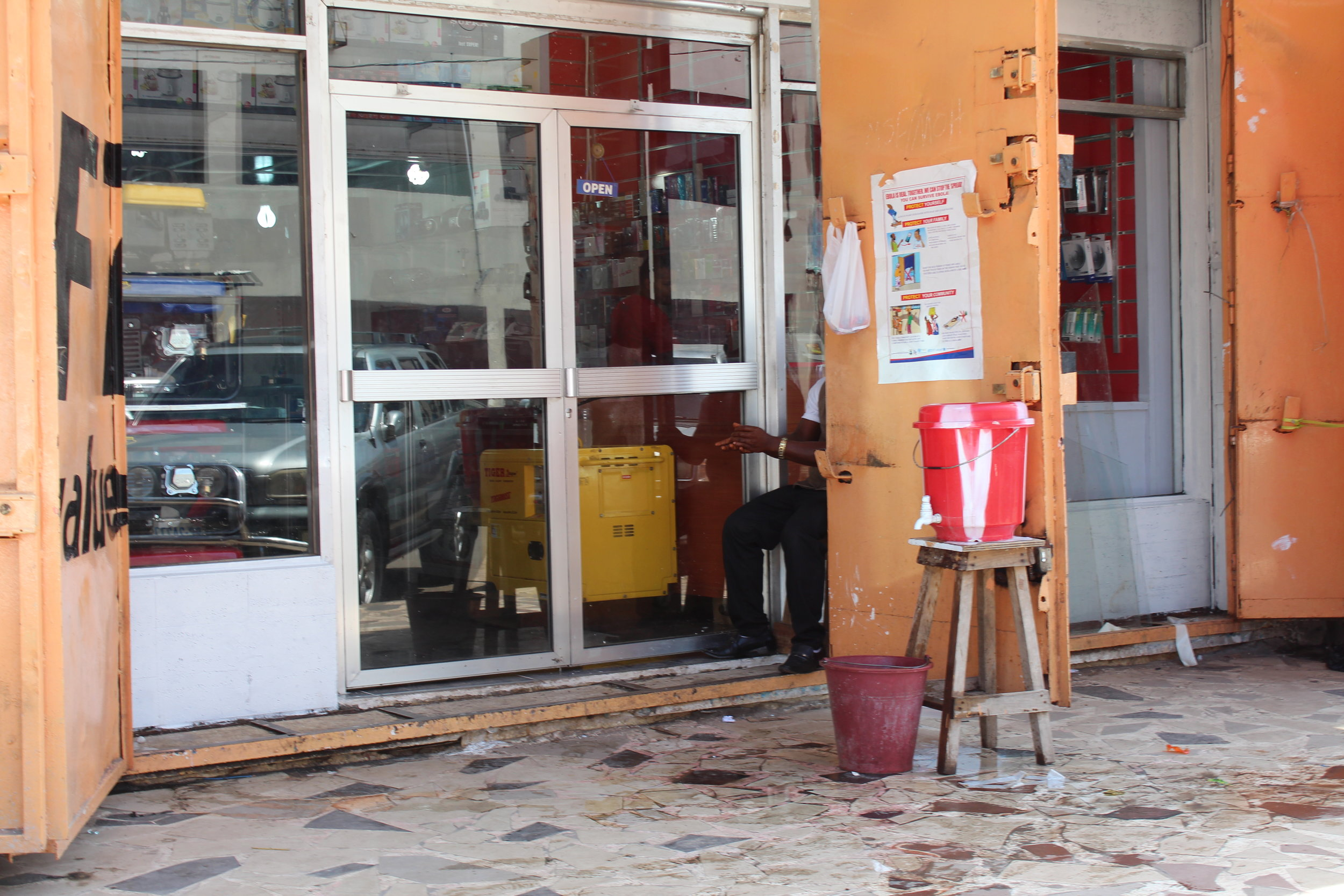 Every shop and public space in Monrovia had chlorine handwash facilities, visitors were expected to use before entry..JPG