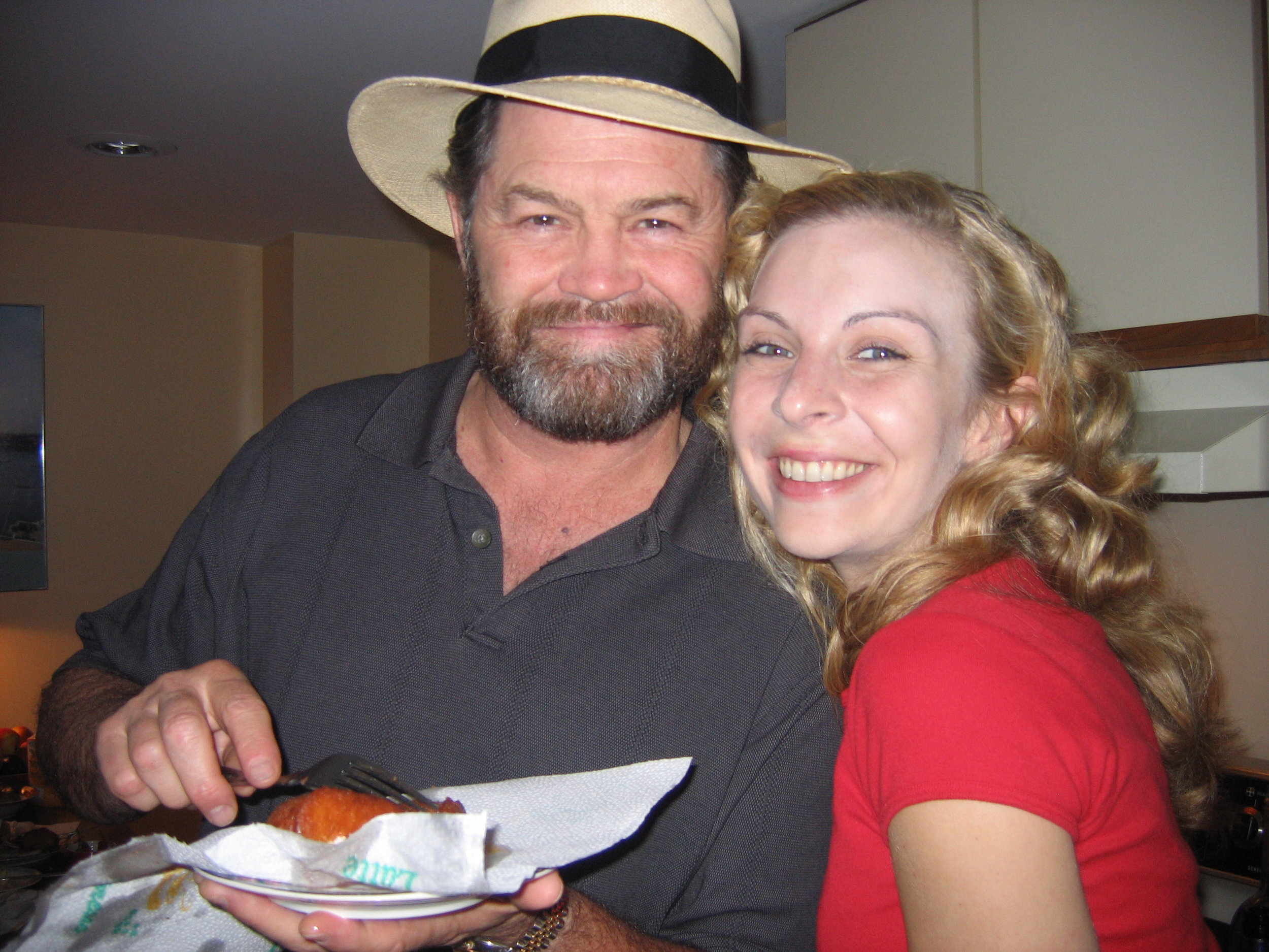 Sharing a fried Twinkie with our Charlemagne, Micky Dolenz.