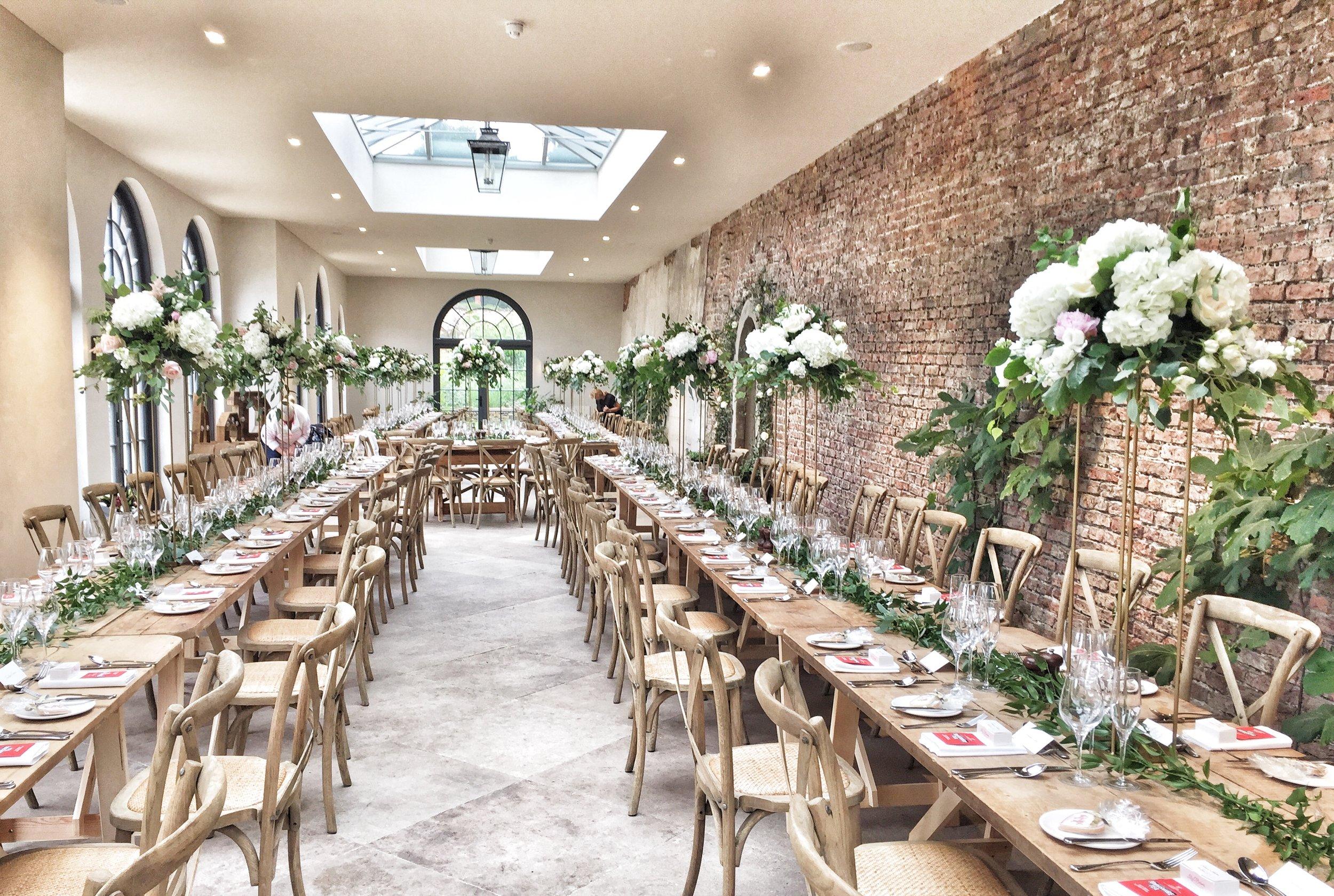 Tall Table Centres Middleton Lodge Florist Harrogate