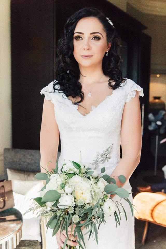 White and Green wedding flowers harrogate