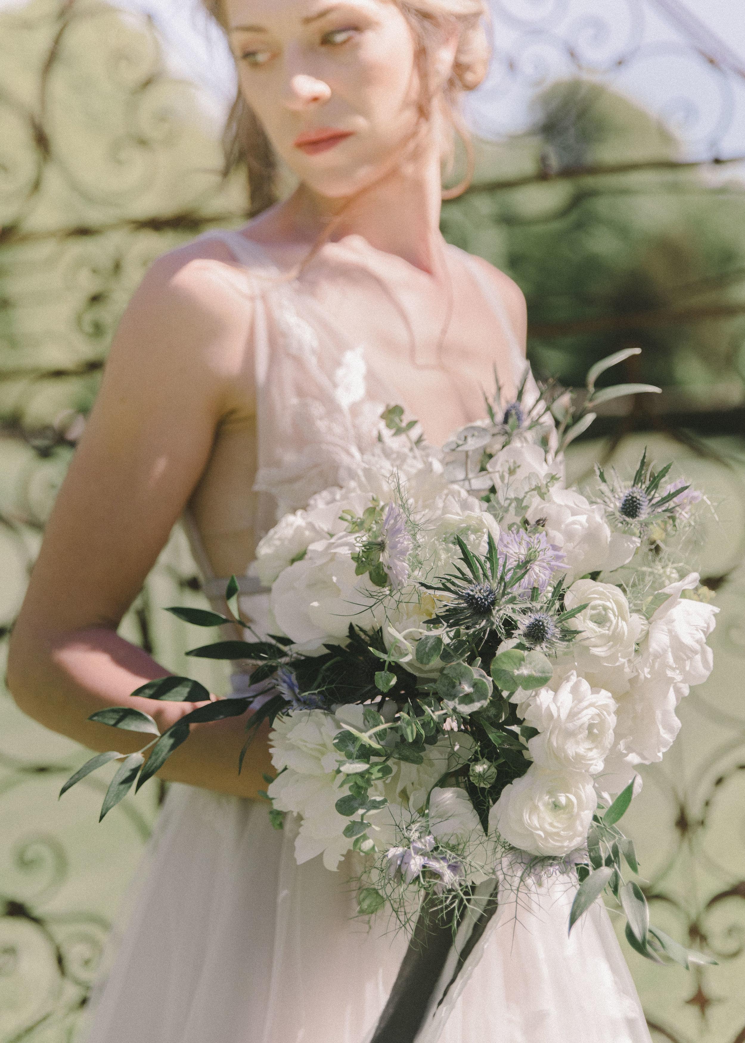 Blue and White Brides Bouquet Harrogate