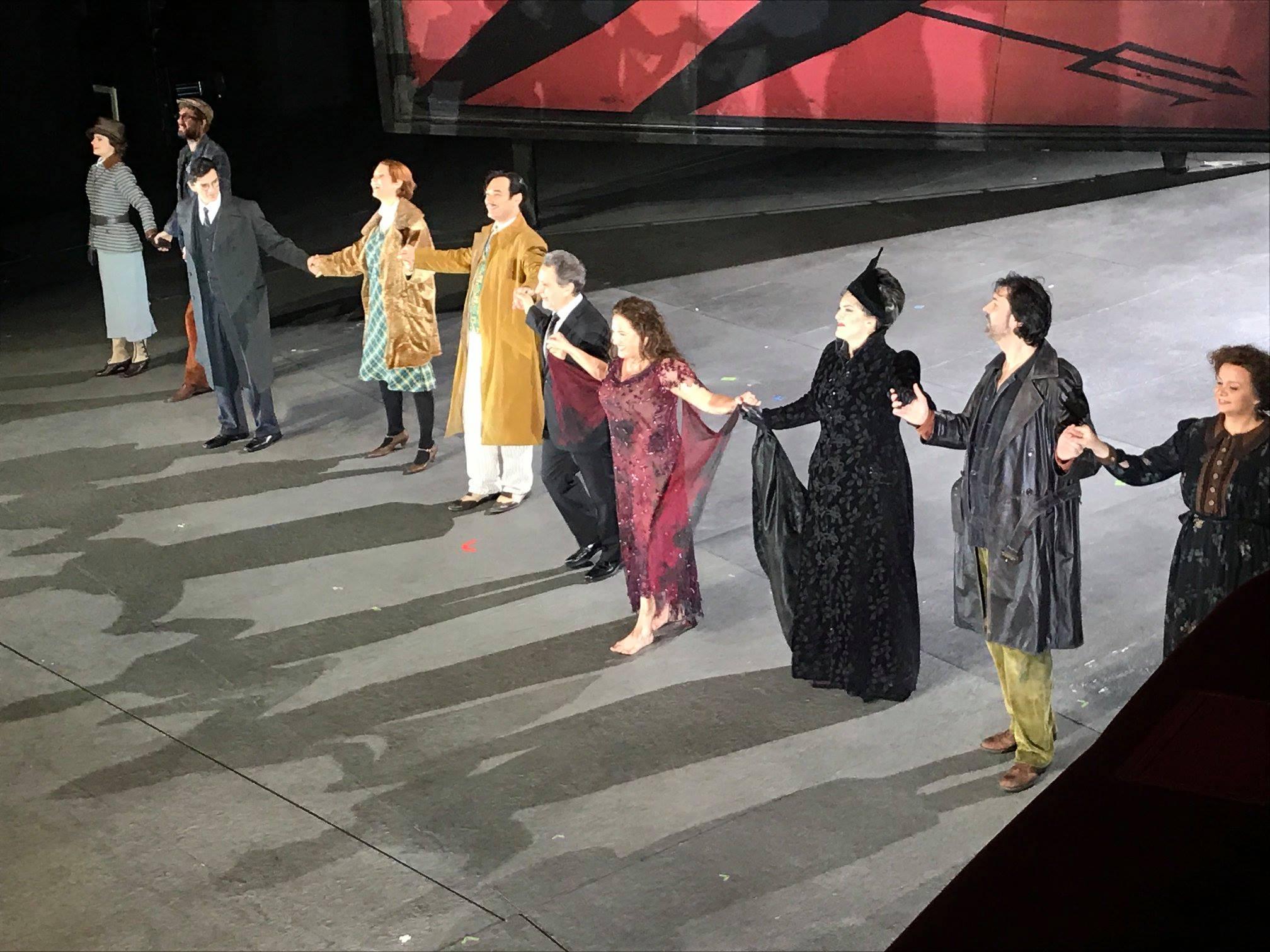 The cast of  Kát'á Kabanová  take their bows following a performance