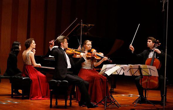 The Notos Quartett performing in Shanghai Helvting Concert Hall