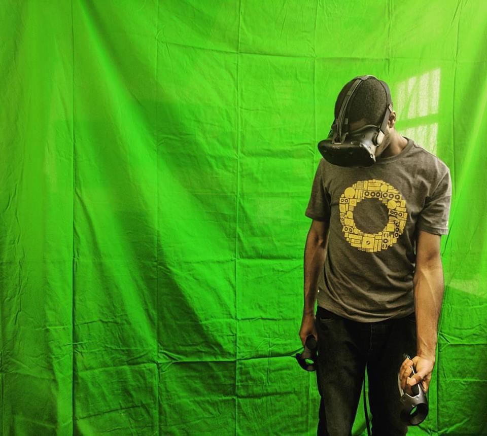 Ben in a green-screen MR demo