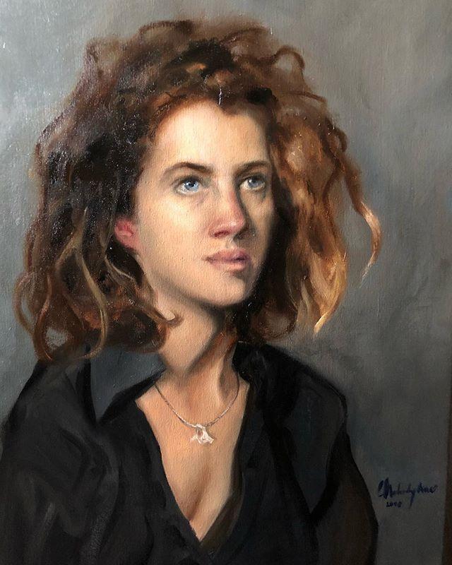 Josephine - completed! Oil on canvas :) . . #charlescecilstudios #studyinflorence #studiodonatello #paintingfromlife #artschool #lightanddark #oilportrait #portraiture