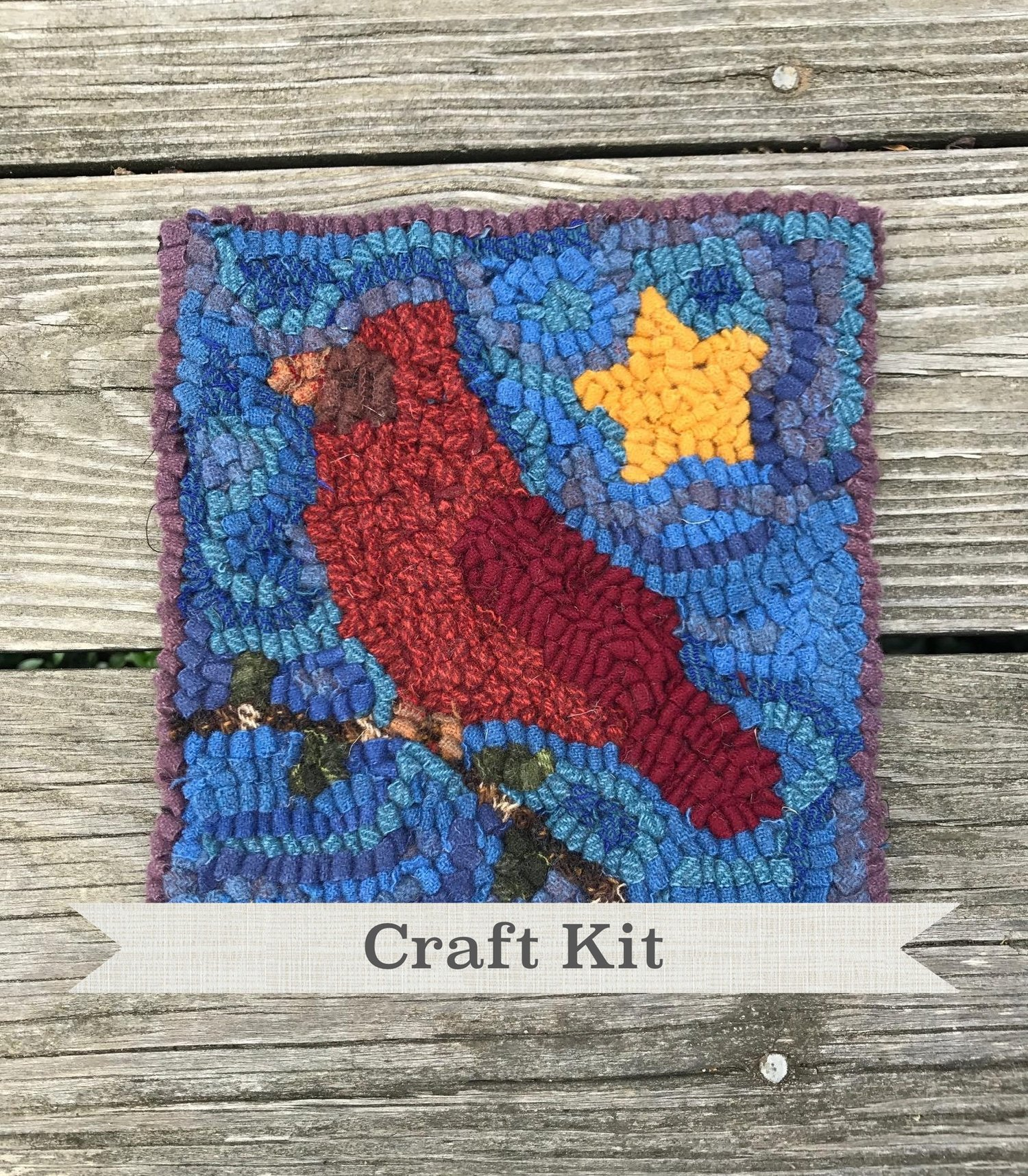 Birds and Berries Complete Primitive Beginner Rug Hooking Kit on Your Choice of Foundation Free Shipping in USA DIY KIT