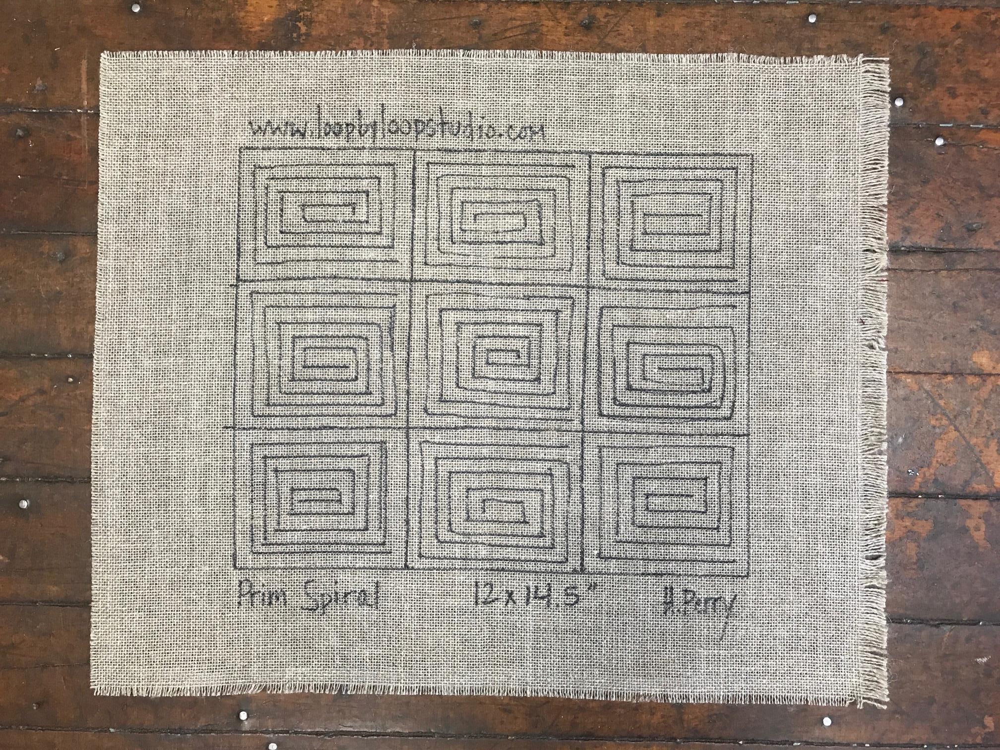 Primitive Spiral Original Hand Drawn 12 By 14 5 Inch Rug Hooking Pattern On Your Choice Of Foundation Loop By Loop Studio