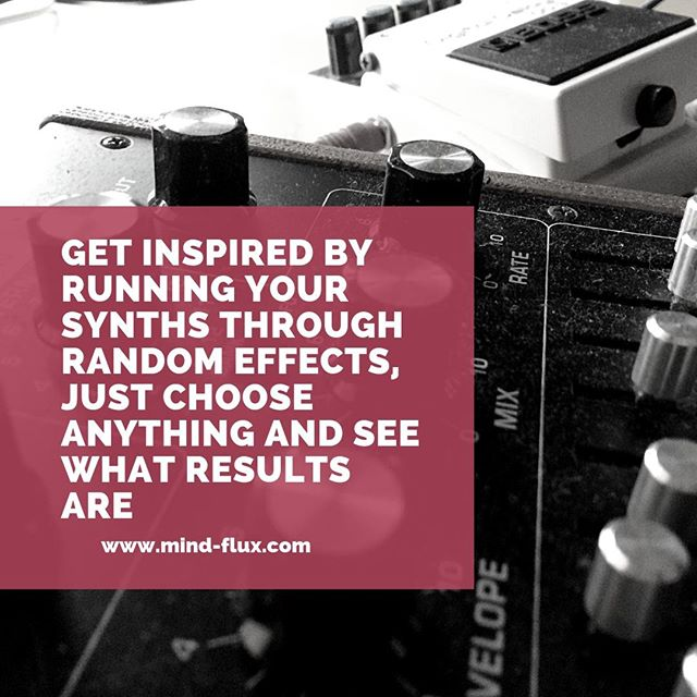 Instead of banging your head against the wall in frustration why not take your synth sounds and run them through a random array of effects and record the results.  Odds are there is something in there that will give you that creative spark.