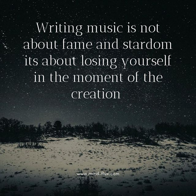Sometimes it is all to easy to get carried away when making music and start thinking about stardom and fame, but lets be mindful. That is not what music is about, just lose yourself in the moment and let the music flow.