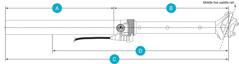 Technische Zeichnung absenkbare Sattelstütze moveLOC