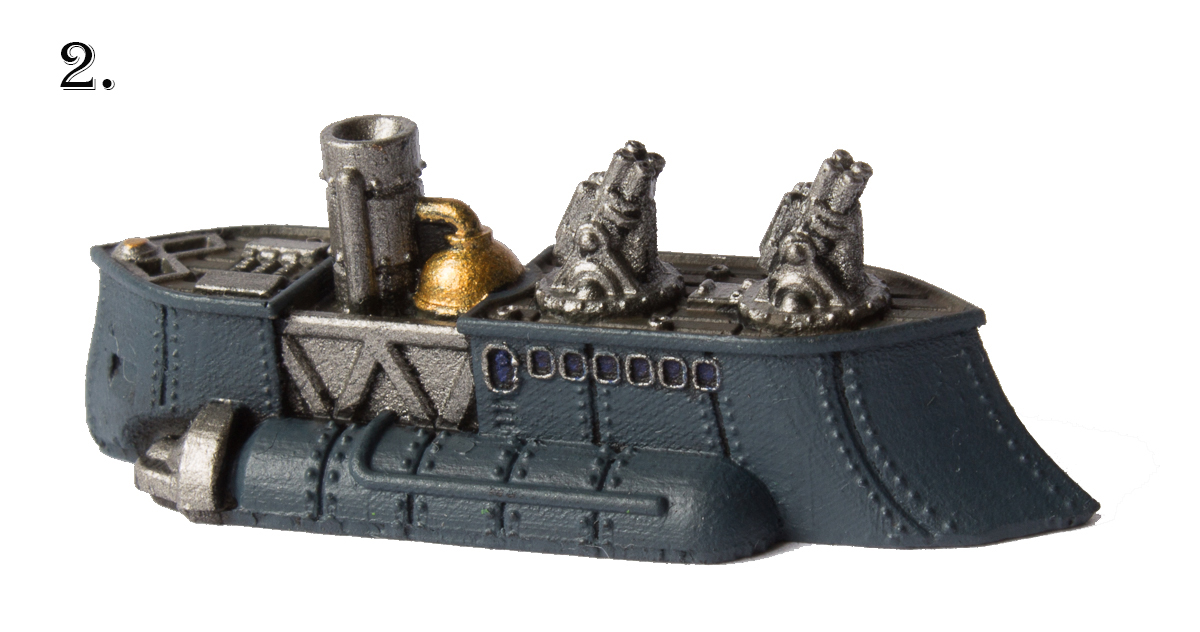 Paint the hull with    Dark Reaper    (Citadel), the metallic parts with    Gunmetal Metal    and    Polished Gold    (Vallejo) and the wooden deck with    Mournfang Brown    (Citadel). I also used some Intense Blue on the windows (Vallejo model color).