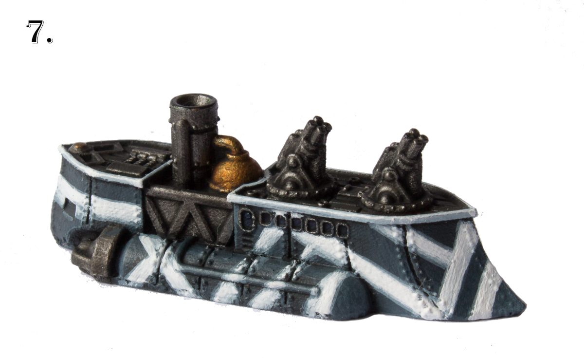 Go over your camouflage design and the ship's top rim with Morrow White.