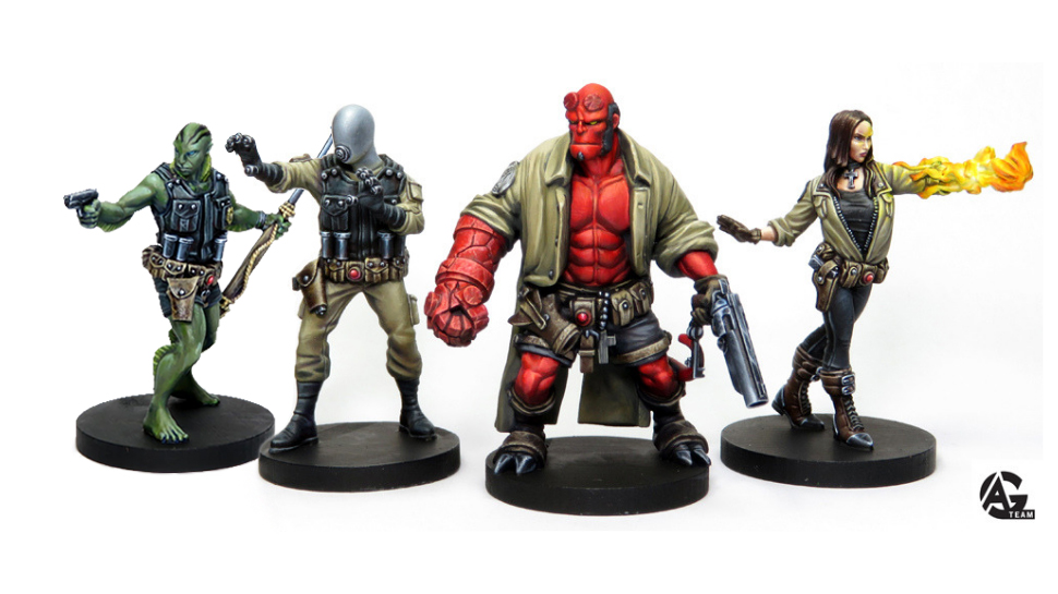 Hellboy, Liz Sherman, Johan Kraus and Abe Sapien painted by the talented Angel Giraldez for Mantic.