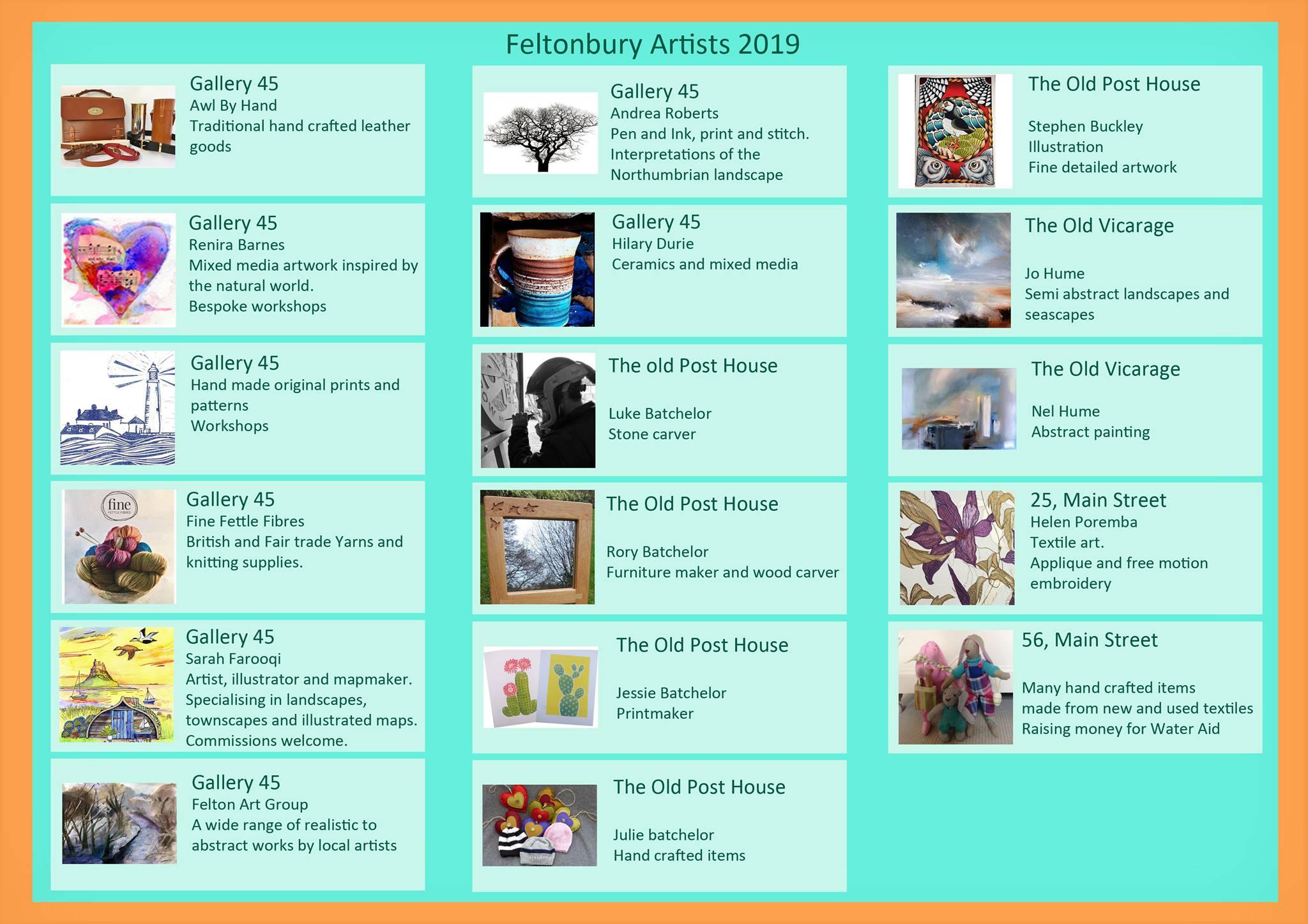 feltonbury art trail 2019 aritsts