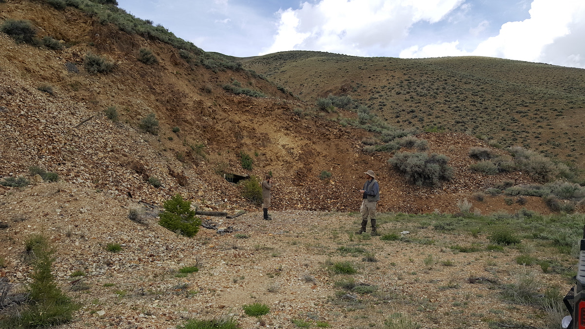 Geologists Sampling Open Pit and Upper Portals Gold Antimony Prospect - Navarre 2019
