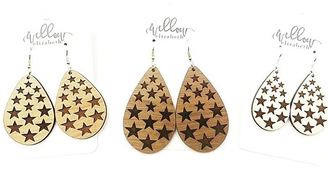 We're kicking off the weekend with a ⚡️ FLASH SALE! ⚡️ Ring in July 4th 🇺🇸 in these custom star teardrops. Hand drawn, this design is cut out in our lightweight wood. Choose from Maple, Walnut, or Cherry. Small, Medium, & Large Teardrops available while supplies last. 💲1️⃣2️⃣➕shipping. ***Don't forget the deadline to place an order for guaranteed delivery for July 4th is TODAY! . . . . #woodenearrings #woodearrings #cutout #wood #handmade #earrings #accessories #lakeerieleather #lakeerieoriginalleather #lakeerielove #summerfashion #thecovecollection #summer #july4th #stars #bornintheusa  #americanmade