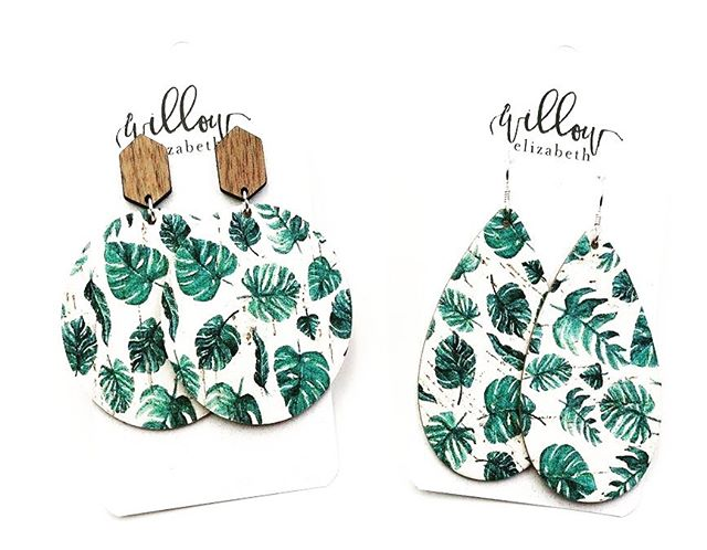 W|E 💗 local!  We teamed up from Brittney from @bkaykreative to create an exclusive palm leaf print for us, and we are loving the result! Printed on our popular distressed cork, this is one of our favorite patterns for summer! 🌿 . . . . #shoplocal #shopsmall #shopsmallbusiness #leatherearrings #ootd #summerfashion #palm #lightweight #palmleaves #cork #handmade #lakeerieleather #lakeerieoriginalleather #accessories #jewelry #earrings #custom #newarrivals #handdrawn