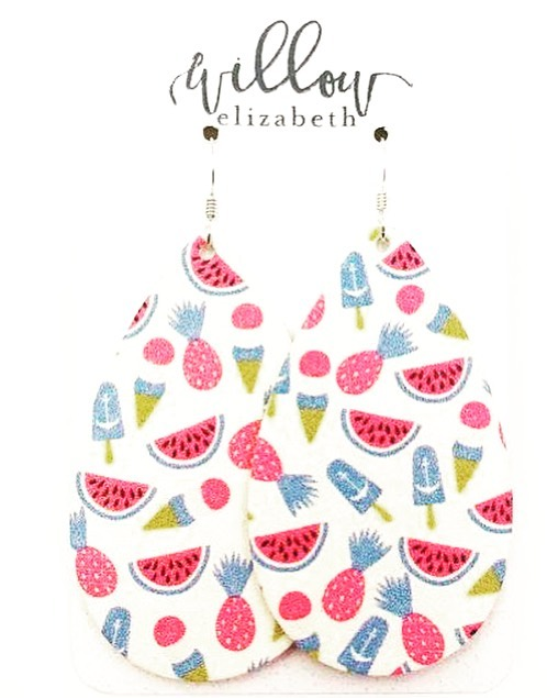 Looking for a fun summertime print? Look no further; Sweet Treats have arrived. 🍍 🍉 🍦 . . . . #shoplocal #shopsmall #shopsmallbusiness #leatherearrings #ootd #summerfashion #pineapple #watermelon #popsicle #icecream #summer #lightweight #handmade #lakeerieleather #lakeerieoriginalleather #accessories #jewelry #earrings  #custom #newarrivals