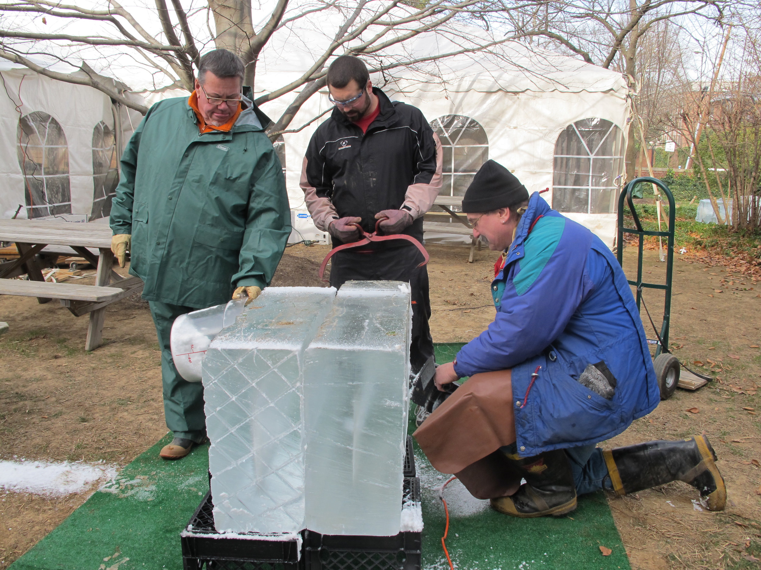 Dennis Normile making an ice sculpture