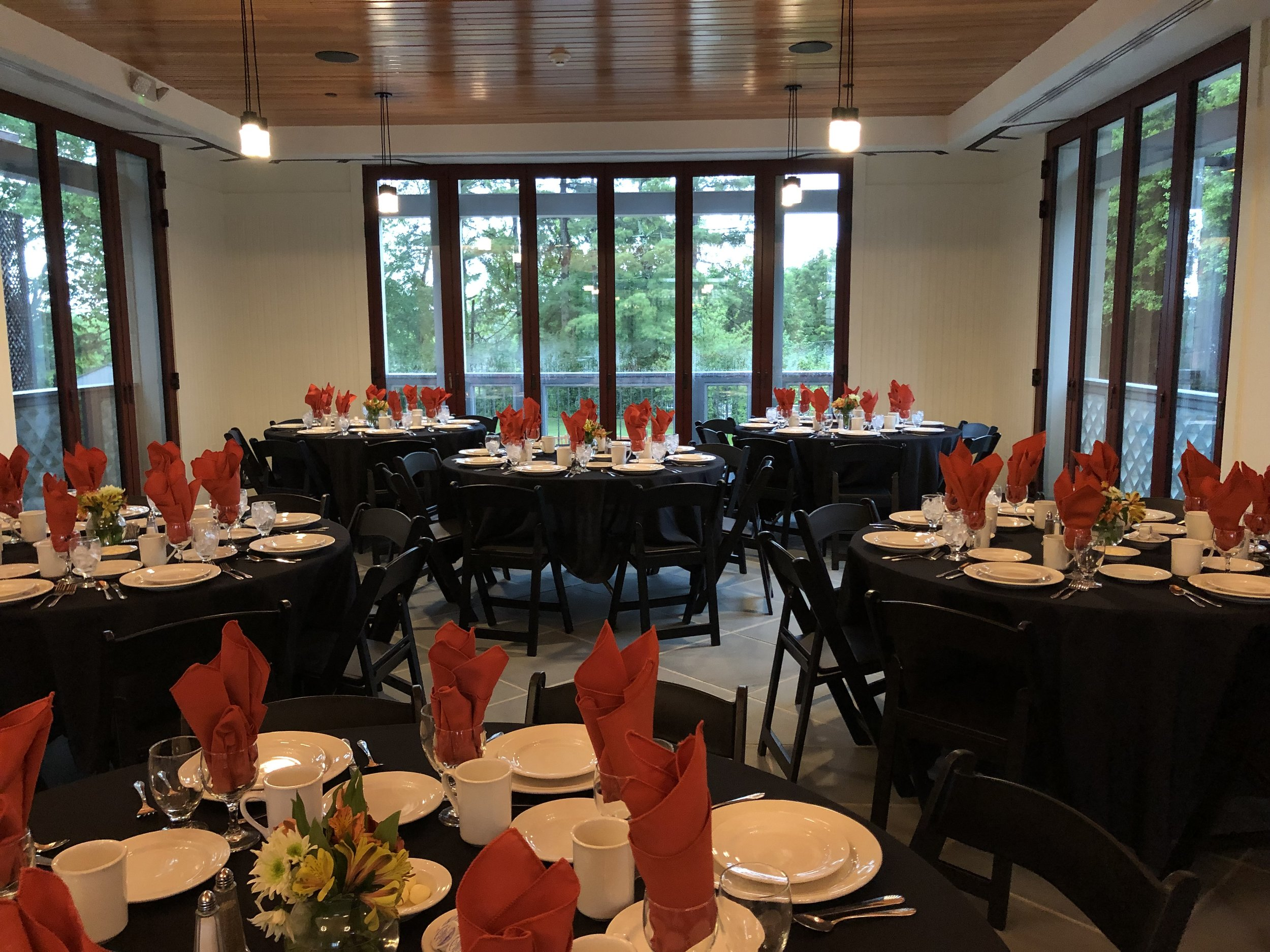 Set-up for the Class of 1970 dinner in the Cox Wing Friday of Reunions