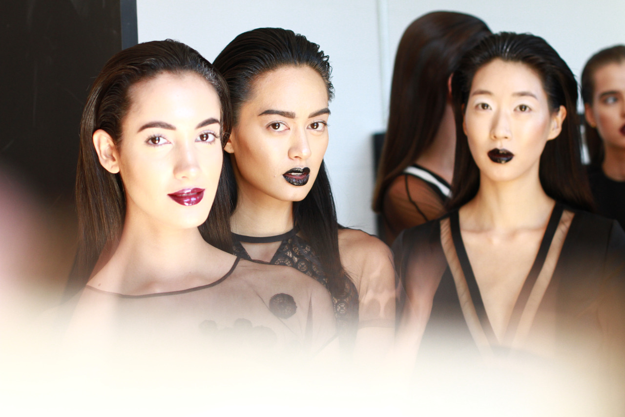 Fashion week is in full force here in NYC which means another dreamy collab week with our girl Rachel Scroggins of  The Greyest Ghost .   This high contrast moment backstage at Alina German SS15 is amazing inspiration for some Fall lips if you ask me …     Makeup by Inglot, Hair by CHI