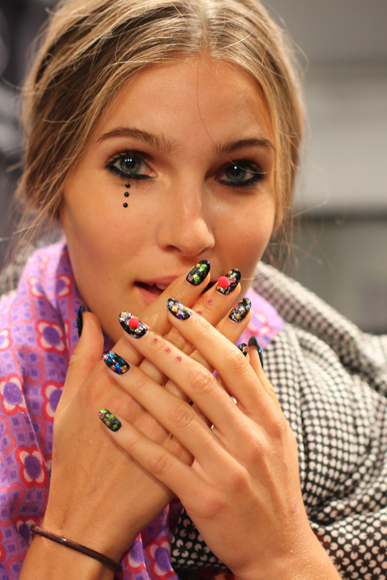Backstage with  Libertine  #NYFW   If someone was texting at dinner with those nails, I wouldn't even be mad about it.   Hair by  Kerastase , makeup and nails by  butter LONDON        Images c/o Rachel Scroggins ( The Greyest Ghost ) for Cult of Pretty     - Kristin