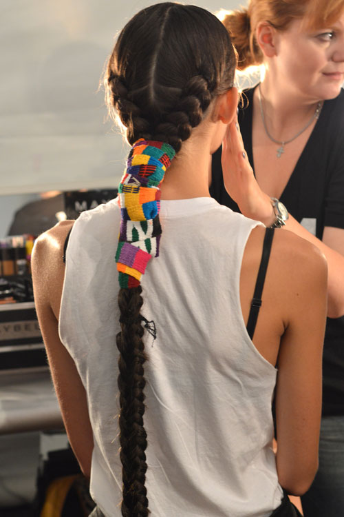 Braids to-tha-FLOOR at  Mara Hoffman  this morning #NYFW.   This look was created c/o Hoffman and  CATWALK by TIGI Creative Director Nick Irwin . The Hoffman SS'14 collection draws inspiration from color, light, happiness, and ultimately rainbows (awesome). Irwin and Hoffman came up with this braided look that allows movement but is fiercely polished from the front. Heavy emphasis on the perfection of the braid, the rainbow inspired fabric wrap, and the daring middle part that every girl wore. (Aside from the 3 that had shaved heads, because their faces were that brilliant.)    Currently browsing the 'How To' section of this press release… I want these hairz.    Image Cult of Pretty    -Kristin