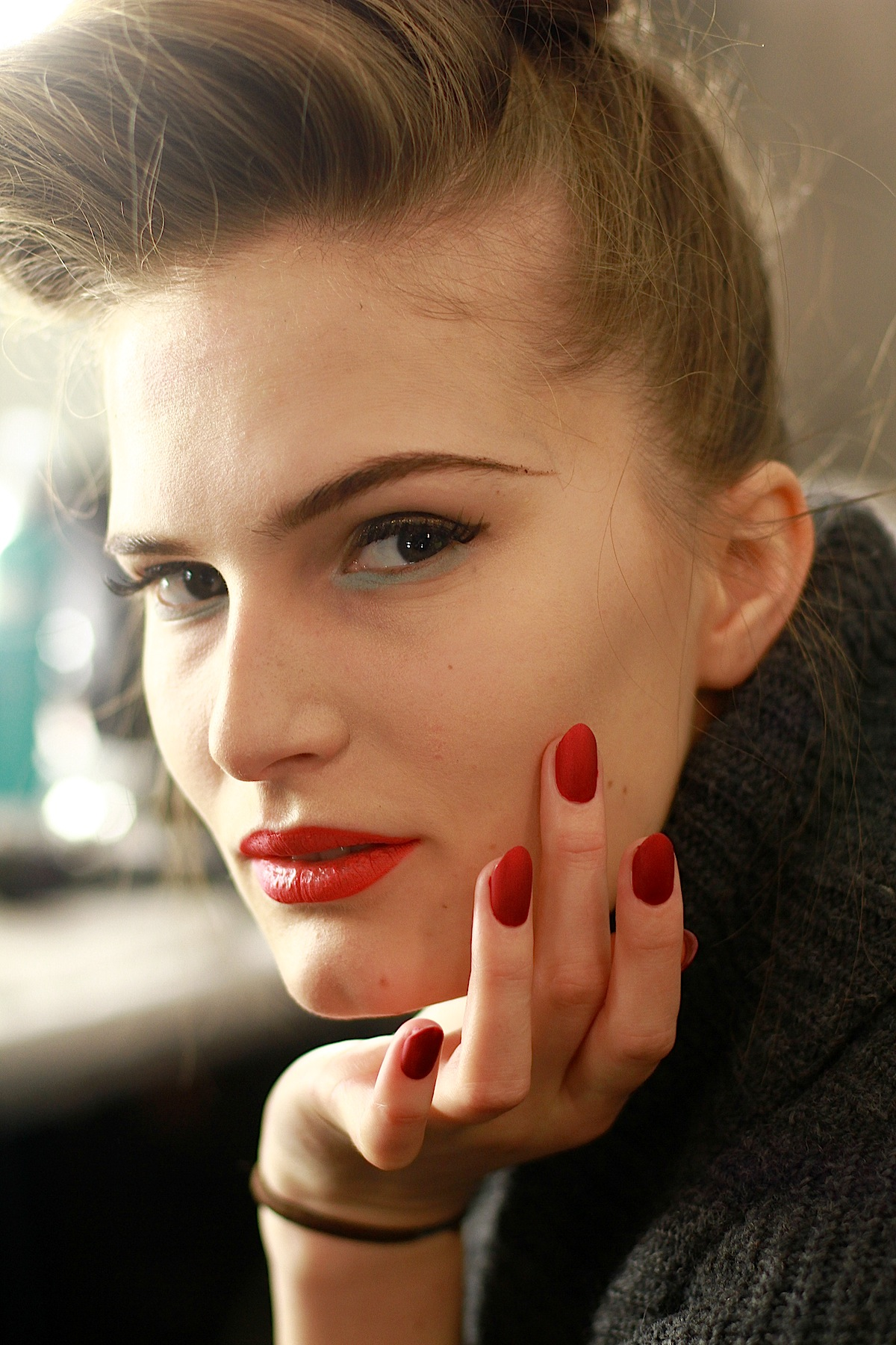 Matte red is retro delicious . .. backstage at Badgley Mischka FW13   Hair: Moroccanoil; Makeup: M.A.C.; Nails: Deborah Lippmann    Image:  The Greyest Ghost  for Cult of Pretty