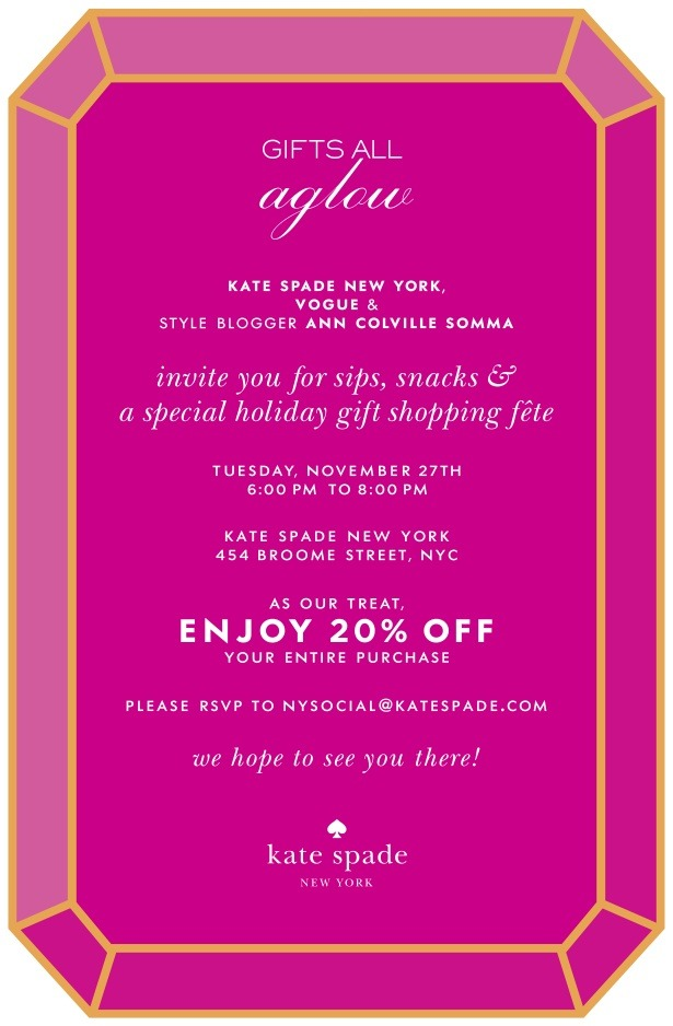 If you're in NYC,  please join me next Tuesday for some drinking & shopping at Kate Spade in Soho!    In the meantime,  have you seen Kate Spade's new beauty items?   The lip crayon kit is beyond cult.  Everything's in   my wish list - click here or above to stuff your stockings.                             projects created in partnership with kate spade + vogue