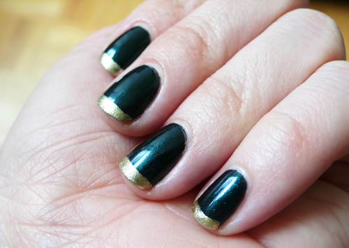 The other day I indulged in a manicure at  tenoverten , and then came home and added this gold tip. Sometimes it's nice to have someone do the base so flawlessly - if you're willing to take the risk of ruining it with your experimenting : )    RGB in Sea  |  Color Club Disco Nap  <- currently my favorite gold