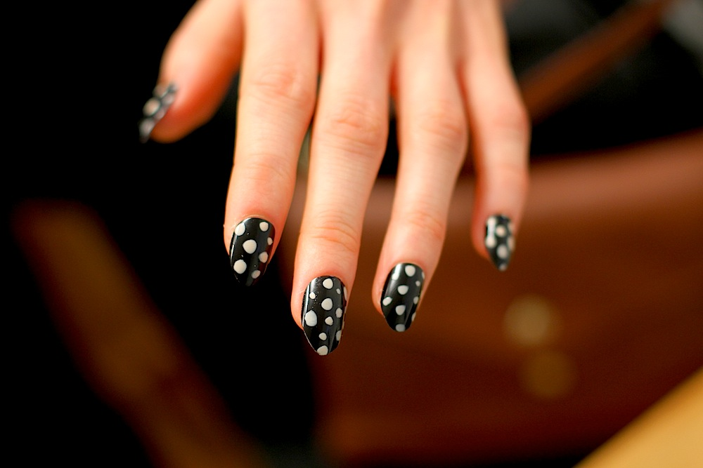 No words for the polkadot nails  by  Deborah Lippmann  at Kate Spade FW12!  You can  see more of the collection over at Holier .    Image -  The Greyest Ghost  for CofP.
