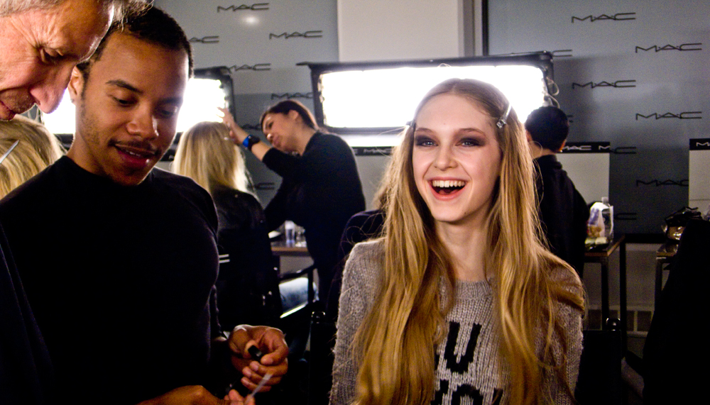 I'd be happy too if I were about to walk  Libertine FW12 .    Makeup by  MAC  - Hair by  ION Studio     Image - Cult of Pretty