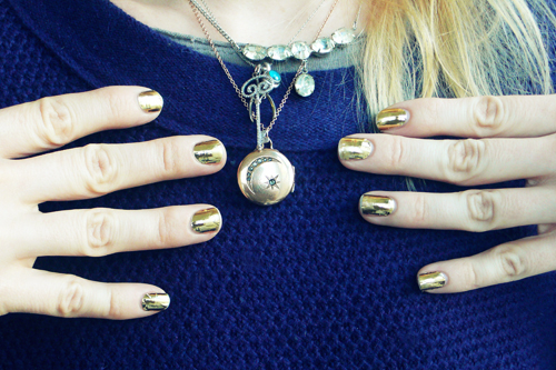 """If you hear someone outside your building singing  GOLD—FINGA!!!  at the top of their lungs around 3am on January 1, 2012 … don't look at me.   … Or my New Year's Eve C-3PO style  shiny-shiny gold nails courtesy of  Nail Rock , who sponsored today's massive  #GIVEAWAY (10 sets of nail wraps, over $100 value)!          CONTEST OVER THANKS FOR PLAYING          Nail Rock   is a U.K.-based brand by celebrity manicurist Zoe Pocock. Unlike the Sally Hansen/Incoco-type """"real nail polish"""" stickers, these are nail wraps, which are more like actual stickers … which means you can achieve that super-shiny metallic robotic look.   Couple of tips for these (in addition to the directions that come in the pack). Cut them to fit, but don't cut down the tip yet. Apply the sticker to the base of your nail and then PULL & STRETCH the sticker along the sides and over the tip of your nails - otherwise you will have ridges and bubbles. Pull really hard - don't worry, they won't tear. Then cut the tip down, leaving a little bit of edge to wrap over your own nail tip if your nails are long enough to do so … tuck it under then file.    Today's prize is 10 packs of wraps (16 in each) , in the following designs:  pink + blue zebra ,  cheetah ,  black & white mod stripe ,  dalmation ,  python  (x2),  silver metallic ,  gold metallic ,  gold metallic giraffe  (x2).  The duplicate sets I decided to throw in should you want to practice, or share!      TO ENTER YOU MUST COMPLETE BOTH OF THESE STEPS …       1. Do ONE of the following….  reblog this post  OR   follow Cult of Pretty on Bloglovin'   OR  follow Cult of Pretty on tumblr  OR   subscribe via email  .     2.  Leave a DISQUS comment below and tell me  WHICH DESIGN WOULD YOU ROCK FIRST?    Please  please SERIOUSLY make sure you either leave your email or that your  Disqus email is accurate - I've had several instances of not being able  to get in touch with winners : (         Contest ends next Friday January 6 2012 at  11.59pm       Eastern."""
