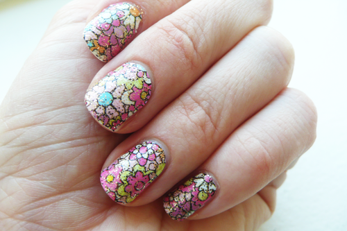 """Ok, 5 minute   Murakami  nail art tutorial :    Step 1 - Flowers : Apply  Sally Hansen Girl Flower Nail Effects Nail Polish Strips  ($9)  Step 2 - Shape Edges : With the emery board included   Step 3 - Glitter : Love applying a top coat over nail stickers as it makes them look more """"real"""" and less flat - why not go glitter? This is OPI Hair Band, similar  here .    Step 4 - Tidy Up : Love these  Beauty Fixation Nail Polish Touch Up  q-tips for getting rid of stray glitter ($5).        That's all! So easy and the glitter oddly makes the whole thing more muted and sophisticated than the stickers alone.    If you come up with any brilliant nail sticker + top coat combos, share in the comments!    XO"""